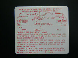 1966 1967 Buick Riviera Trunk Bumper Jack Instructions Decal 66 67 Instruction