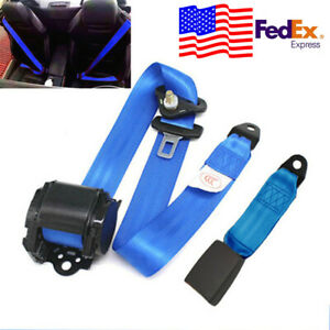 3 point Retractable Automatic Blue Strap Car Safety Seat Belt Buckle Kit Usa