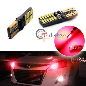 2pc Error Free Red 24 smd Led Bulbs For Parking City Lights T10 168 194 2825 W5w