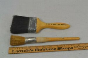 Antique Brush Natural Bristle Paint Early Wood Handle 2 Old 3 Tool Wall Trim