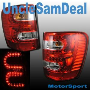 99 04 Jeep Grand Cherokee Euro Red Clear Lens Led Tail Lights Pair Direct Fit