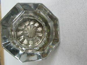 Antique 8 Point Clear Crystal Glass Door Knob 2 With Spindle Turn Lock