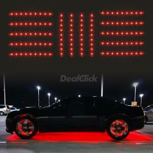 14pcs Red 126 Led Slim Strip Universal Car Neon Accent Undercar Glow Lighting