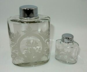 Lot Of 2 Vintage Glass Apothecary Jars W Caps Embossed Frosted Floral