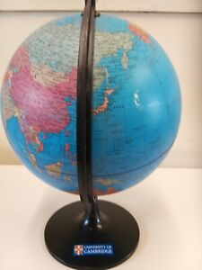 University Of Cambridge World Globe Rotating On A Stand Vintage Good Condition