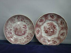 Antique Tyrolean Pattern Saucer Plate Red Transferware Cup Dish