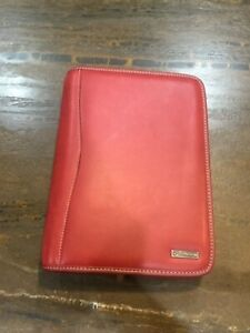 Franklin Covey Original Classic Zip around Red Leather Planner Vintage 2004 Euc
