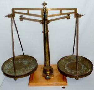 Rare Antique Large Brass Bronze Us Mint Or Gold Assay Balance Scale