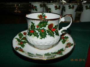 Queens Yuletide Tea Cup Saucer Rosina China Co Fine Bone China England