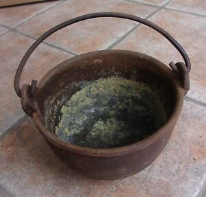 Antique Vintage #8 Hollands Cast Iron Lead Melting Pot Kettle Heavy Made In USA