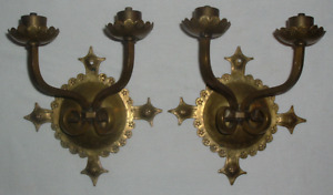 2 19thc Victorian Gothic Double Light Lite Wall Sconces Fixtures Solid Brass