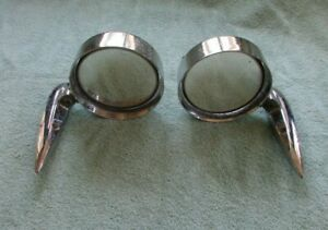 Two Vintage yankee Metal Products Rear Side View Tri bar Mirrors 40100