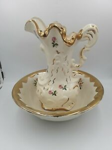 Vintage Floral Pitcher And Wash Basin Bowl Creamy White With Gold Rim And Roses