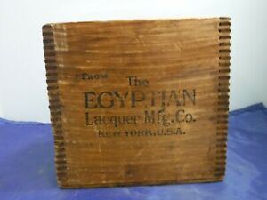 Antique Wooden Shipping Crate Box Egyptian Lacquer Mfg Co New York