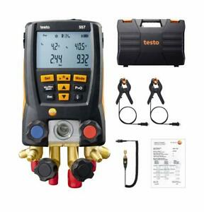 New Testo 557 Refrigeration Digital Manifold Kit With 4 Hoses And Clamps