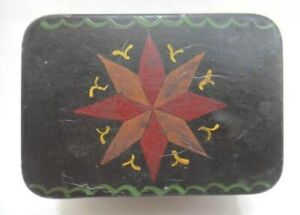 Antique Early Pa Dutch Folk Art Painted Tin W Lid Star Lancaster Tole Star Aafa