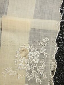 Antique Unused Ecru Sheer Homespun Hankie Lace Embroidery Floral Ornate