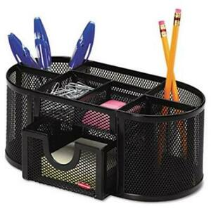 Black Mesh Desk Organizer Desk Office Pens Paper Clips Cord Ties Scotch Tape