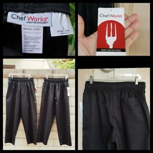 2 New Chef Works Black Elastic Waist Pants Large Women 4 6 Men 29x31 30x31