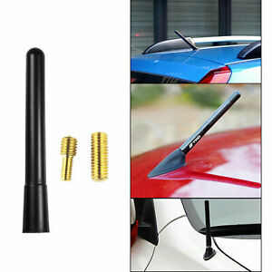 Black Short Sporty Screw Type Aluminum Am fm Radio Antenna Universal For Cars