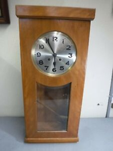 Beautiful Large Wooden Antique Glass Front Pendulum Wall Chime Clock G W Prima