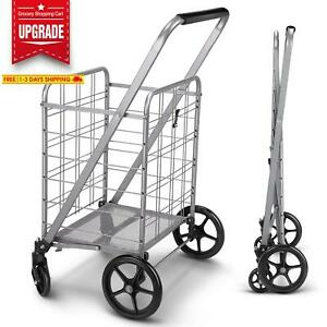 Newly Released Grocery Utility Flat Folding Shopping Cart with 360 Rolling Sw