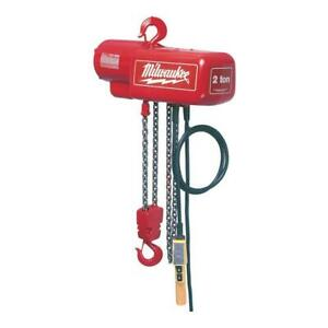 Milwaukee 2 Ton 20 Ft Electric Chain Hoist Professional Lifting Single Phase