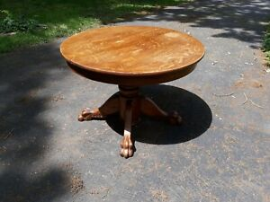 Antique Oak Claw Foot Round Extension Dining Room Table