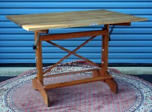 1960 S Mayline Drafting Table Measures 36 X 24 Solid Pine And Oak Nice Table Vg