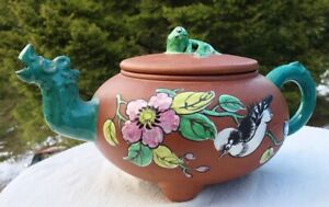 Antique Dragon Head Chinese Yixing 4 Clay Teapot Enamel Bird Flowers Signed