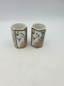 Japanese Fine Porcelain Hexagonal Shape Brush Pots Tea Cups Floral Birds Pair