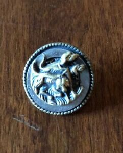 Spectacular Antique Victorian Metal Picture Button Three Hunting Dogs Steel Ring
