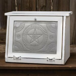 Primitive Farmhouse Star White Wooden Bread Box W Punched Tin
