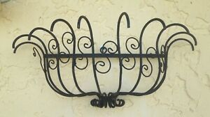 Vintage Mid Century Wrought Iron Wall Plant Basket Planter Holder 21 X 10