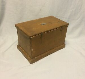 Antique Miniature Wood Document Box Mustard Paint W Silver Name Plate H H Simms
