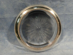Frank M Whiting Sterling Silver Banded Glass Wine Bottle Coaster 5 Inch Inside