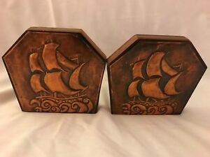 Vintage Repousse Copper Ship Design And Wood Pair Of Bookends