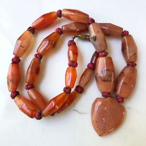 Vintage Carnelian Carved Agate Necklace Knotted Metal Thread Bead Strand Antique