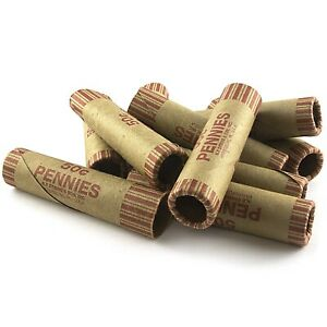 72 Rolls Preformed Penny Coin Wrappers Tubes 1 Cent Pennies Shotgun Counter