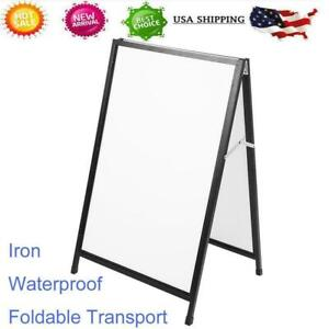 Double Side Sidewalk A frame Sign Board Holder Iron Poster Stand Display