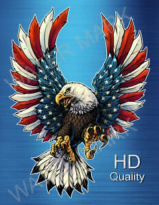 Bald Eagle Usa American Flag Vinyl Sticker Decal American Eagle Truck Window