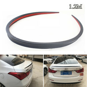 Universal Carbon Fiber Car Rear Roof Trunk Spoiler Rear Wing Lip Trim Sticker