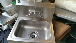 Commercial Stainless Steel Sink Wall Mount Hand Washing Basin With Faucet Pipes