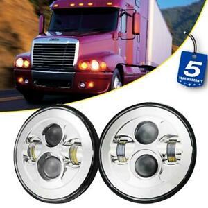 2pcs 7 inch Led Headlights 150w Round Chrome Lamp For Freightliner Century Class