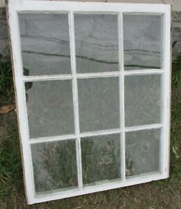 9 Pane Primitive Vintage Window Sash Frame W Glass 27 1 2 W X 32 1 2 High E