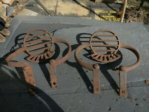 Pair Of Early Antique Horse Drawn Buggy Iron Steps