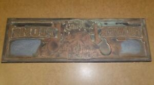 Vintage California Crate Label Printing Plate Beaver Plums Letter Press 1940s