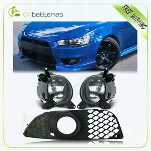 For 08 15 Mitsubishi Lancer Fog Lights Clear Front Bumper Lamps W Wiring Pair