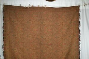 Antique Paisley Shawl Throw Woven Wool Civil War Era 70x71 1800