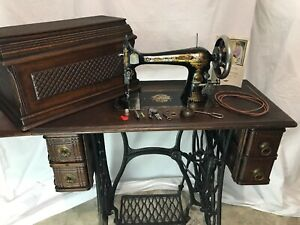 Vtg Antique Singer 27 Sphinx Treadle Sewing Machine Table Cabinet Coffin Box Top